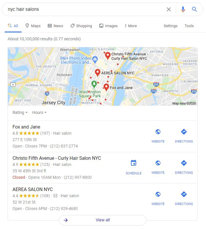 local seo for hair salons, spas, and lash artists